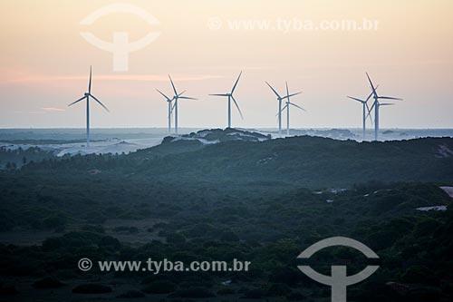 Vista do aerogeradores do Parque Eólico Canoa Quebrada  - Aracati - Ceará (CE) - Brasil