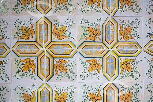 Detalhe de azulejo no Museu Casa Histórica de Alcântara  - Alcântara - Maranhão (MA) - Brasil