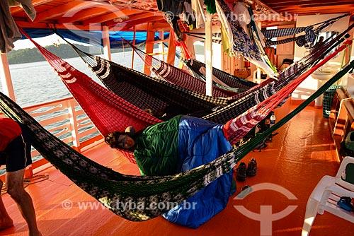 Redes em convés de barco no Rio Tapajós  - Itaituba - Pará (PA) - Brasil