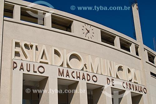 Fachada do Estádio Municipal Paulo Machado de Carvalho (1940) - também conhecido como Estádio do Pacaembú  - São Paulo - São Paulo (SP) - Brasil
