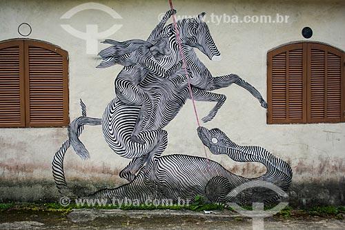 Desenho de São Jorge na fachada de casa na Praia Grande de Palmas  - Angra dos Reis - Rio de Janeiro (RJ) - Brasil