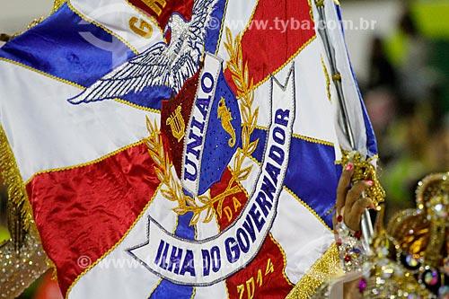 Detalhe da bandeira durante o desfile do Grêmio Recreativo Escola de Samba União da Ilha do Governador  - Rio de Janeiro - Rio de Janeiro (RJ) - Brasil