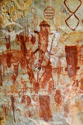 Desenhos rupestres no Sítio Arqueológico Gruta das Araras  - Serranópolis - Goiás (GO) - Brasil