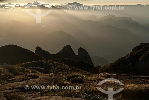 Vista do Morro do Nariz do Frade com verruga a partir da Pedra do Sino no Parque Nacional da Serra dos Órgãos  - Teresópolis - Rio de Janeiro (RJ) - Brasil