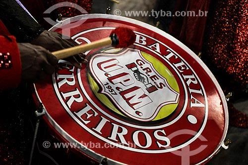 Desfile do Grêmio Recreativo Escola de Samba Unidos de Padre Miguel - Bateria - Enredo 2014 - Decifra-me ou te devoro: enigmas - chaves da vida  - Rio de Janeiro - Rio de Janeiro (RJ) - Brasil