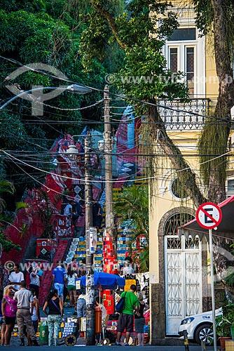 Pessoas na Escadaria do Selarón  - Rio de Janeiro - Rio de Janeiro (RJ) - Brasil