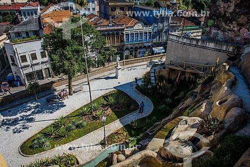Vista geral do Jardim Suspenso do Valongo (1906)  - Rio de Janeiro - Rio de Janeiro (RJ) - Brasil