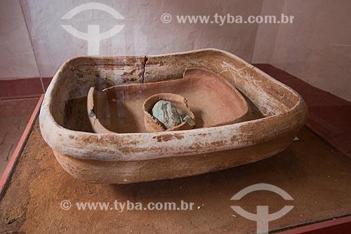 Conjunto de artefato ritualístico encontrado no Sítio São Bento (Crato - CE) em exposição na Fundação Casa Grande - Memorial do Homem Kariri  - Nova Olinda - Ceará (CE) - Brasil