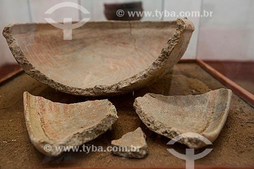 Cerâmica Policroma Kariri encontrada no Sítio Tabuleiro (Altaneira - CE) em exposição na Fundação Casa Grande - Memorial do Homem Kariri  - Nova Olinda - Ceará (CE) - Brasil