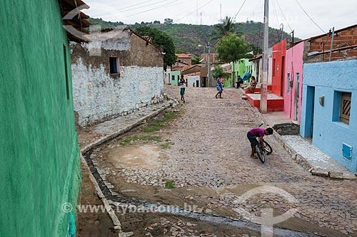 Esgoto a céu aberto em rua na Colina do Horto  - Juazeiro do Norte - Ceará (CE) - Brasil