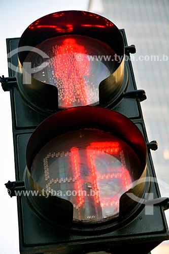 Semáforo vermelho com cronômetro regressivo  - Santiago - Província de Santiago - Chile