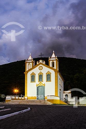 Igreja de Nossa Senhora da Lapa (1763) ao anoitecer  - Florianópolis - Santa Catarina (SC) - Brasil