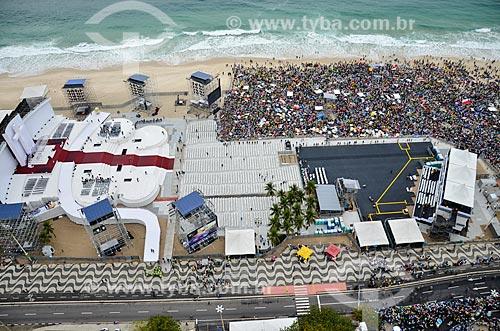 Vista de cima do palco montado na Praia de Copacabana durante a Jornada Mundial da Juventude (JMJ)  - Rio de Janeiro - Rio de Janeiro (RJ) - Brasil
