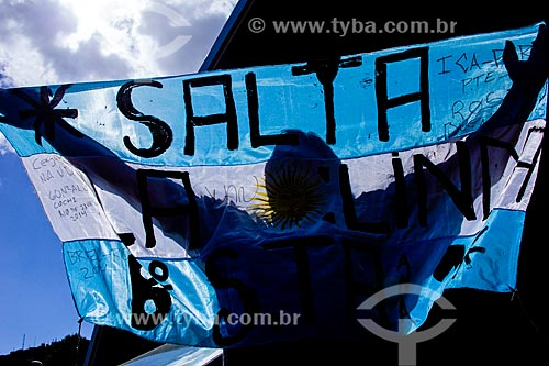 Torcedor com a bandeira da Argentina durante a Copa do Mundo no Terreirão do Samba  - Rio de Janeiro - Rio de Janeiro (RJ) - Brasil
