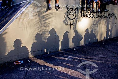 Manifestação - a festa nos estádios não valem as lágrimas nas favela - contra à Copa do Mundo na Praça Sáenz Peña  - Rio de Janeiro - Rio de Janeiro (RJ) - Brasil