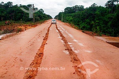 Detalhe de trilha de lama na Rodovia BR-319  - Amazonas (AM) - Brasil