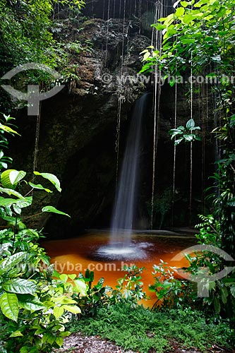 Vista da cachoeira e gruta da Judéia  - Presidente Figueiredo - Amazonas (AM) - Brasil