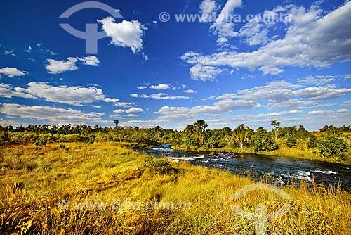 Leito do Rio Formoso durante período de seca no Parque Nacional das Emas  - Mineiros - Goiás (GO) - Brasil
