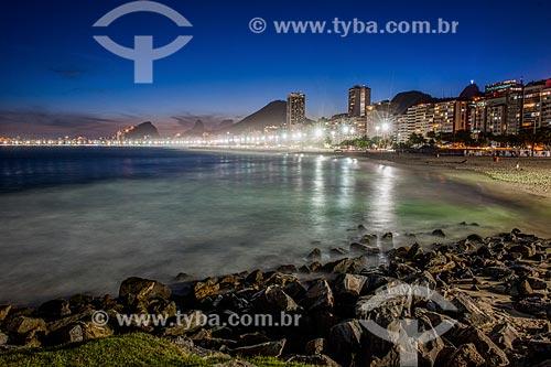 Anoitecer na Praia de Copacabana visto a partir da Praia do Leme  - Rio de Janeiro - Rio de Janeiro (RJ) - Brasil