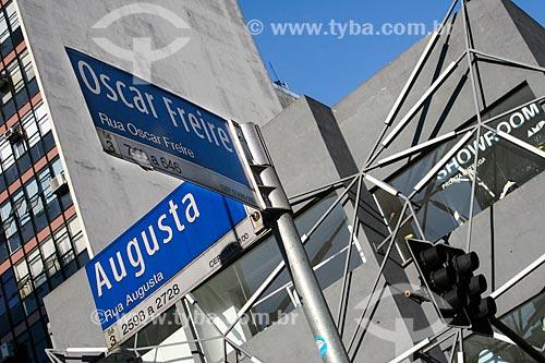 Placa na esquina das Ruas Oscar Freire e Augusta  - São Paulo - São Paulo (SP) - Brasil
