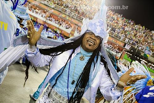 Cantor Carlinhos Brown durante o desfile do Grêmio Recreativo Escola de Samba Portela  - Rio de Janeiro - Rio de Janeiro (RJ) - Brasil