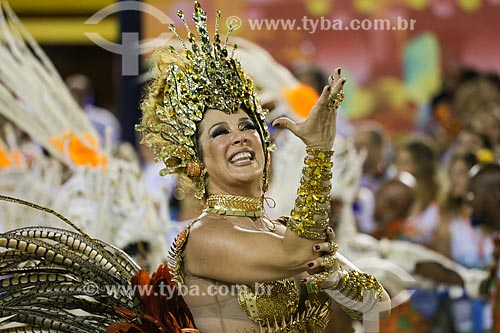Desfile do Grêmio Recreativo Escola de Samba Beija-Flor de Nilópolis - Atriz Cláudia Raia - Madrinha de Bateria  - Rio de Janeiro - Rio de Janeiro (RJ) - Brasil
