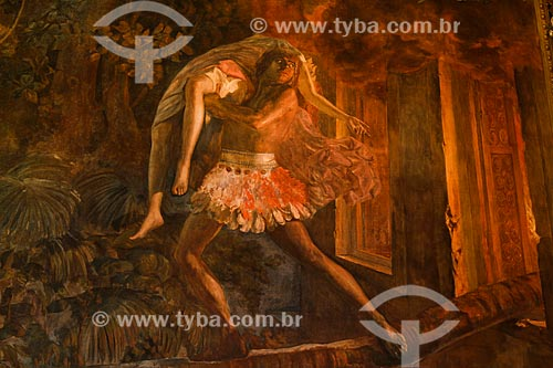 Painel conhecido como Ceci e Peri - baseado na ópera O Guarany de Carlos Gomes - no interior do salão nobre do Teatro Amazonas  - Manaus - Amazonas (AM) - Brasil