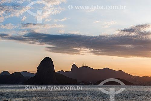 Vista do Pão de Açúcar e do Cristo Redentor a partir da Praia do Forte Barão do Rio Branco - também conhecida como Praia de Fora  - Rio de Janeiro - Rio de Janeiro (RJ) - Brasil