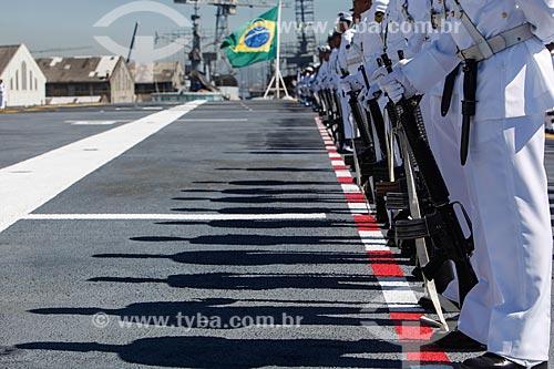 Fuzileiros navais perfilados no Porta-avião NAe São Paulo (A-12)  - Rio de Janeiro - Rio de Janeiro (RJ) - Brasil
