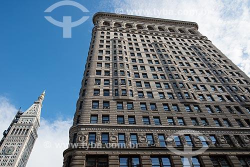 Fachada do Flatiron Building (1902) - também conhecido como Fuller Building - cruzamento da Brodway com a Madison Square  - Cidade de Nova Iorque - Nova Iorque - Estados Unidos