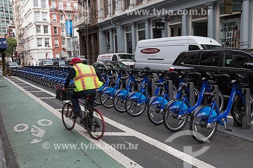 Bicicletas públicas - para aluguel - no bairro de Soho  - Cidade de Nova Iorque - Nova Iorque - Estados Unidos
