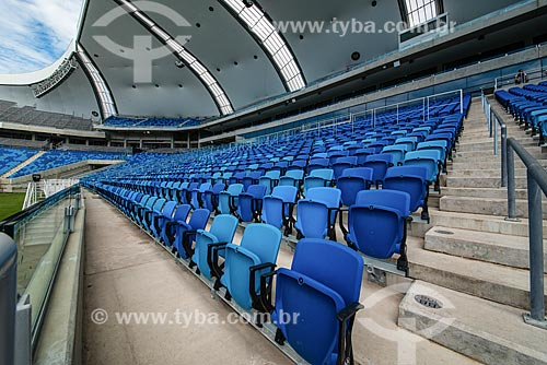 Cadeiras no interior da Arena das Dunas (2014) - após construção para a Copa do Mundo no Brasil  - Natal - Rio Grande do Norte (RN) - Brasil