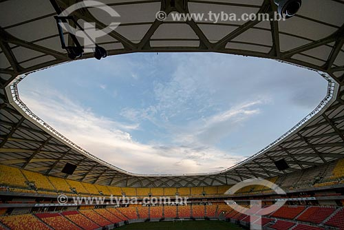 Detalhe da cobertura da Arena da Amazônia Vivaldo Lima (2014) após as reformas para a Copa do Mundo no Brasil  - Manaus - Amazonas (AM) - Brasil