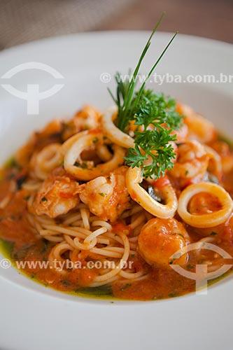 Detalhe de spaghetti grano duro com frutos do mar - Restaurante Quadrifoglio  - Rio de Janeiro - Rio de Janeiro (RJ) - Brasil