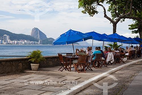 Mesas na área externa da Confeitaria Colombo no Forte de Copacabana (1914-1987), atual Museu Histórico do Exército  - Rio de Janeiro - Rio de Janeiro (RJ) - Brasil