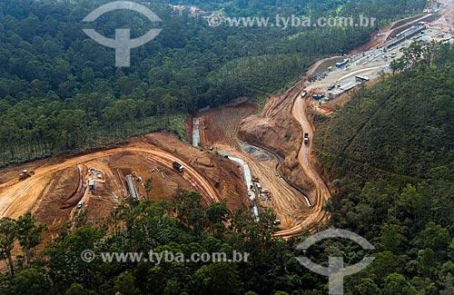 Foto aérea da construção do trecho norte do Rodoanel Mário Covas na Serra da Cantareira  - Guarulhos - São Paulo (SP) - Brasil