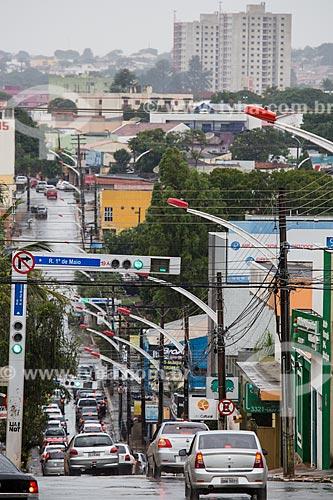 Semáforo no cruzamento da Rua primeiro de Maio com a Rua Barão do Rio Branco  - Anápolis - Goiás (GO) - Brasil