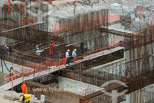 Canteiro de obras da estação de bombeamento EBI-3 - Projeto de Integração do Rio São Francisco com as bacias hidrográficas do Nordeste Setentrional  - Salgueiro - Pernambuco (PE) - Brasil