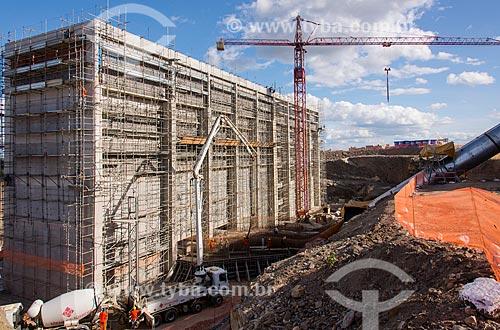 Canteiro de obras da estação de bombeamento EBI-1 - parte do Projeto de Integração do Rio São Francisco com as bacias hidrográficas do Nordeste Setentrional  - Cabrobó - Pernambuco (PE) - Brasil