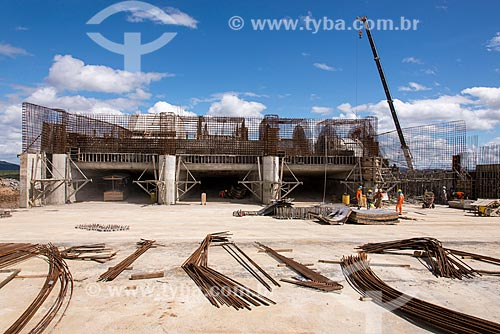 Canteiro de obras da estação de bombeamento EBI-2 - parte do Projeto de Integração do Rio São Francisco  - Cabrobó - Pernambuco (PE) - Brasil