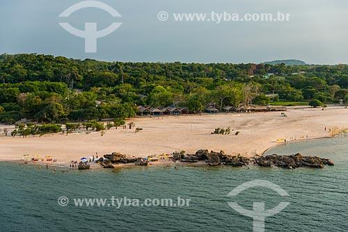 Foto aérea da praia fluvial de Ponta de Pedra - visível apenas na época de seca  - Santarém - Pará (PA) - Brasil