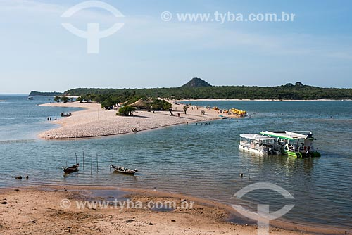 Vista de cima da orla da Ilha do Amor  - Santarém - Pará (PA) - Brasil