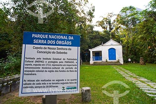 Placa informativa na Capela de Nossa Senhora da Conceição do Soberbo (1713) - no Centro de Visitantes von Martius do Parque Nacional da Serra dos Órgãos  - Guapimirim - Rio de Janeiro (RJ) - Brasil