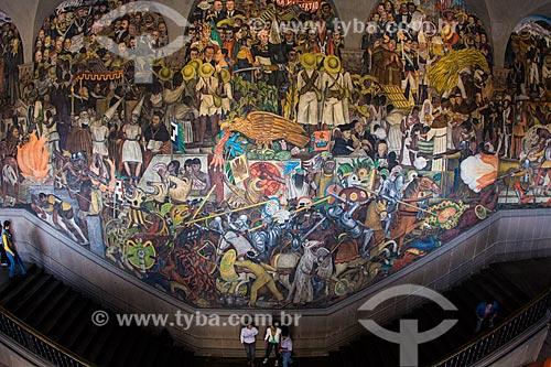 Painel conhecido como História do México no hall do Pala?cio Nacional - sede do governo do México  - Cidade do México - Distrito Federal - México