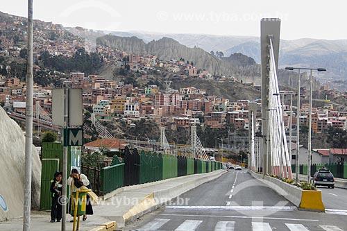 Puente de las Americas (Ponte das Américas) - ponte que liga os bairros de Miraflores e Sopocachi sobre o Parque Urbano Central  - La Paz - Departamento de La Paz - Bolívia