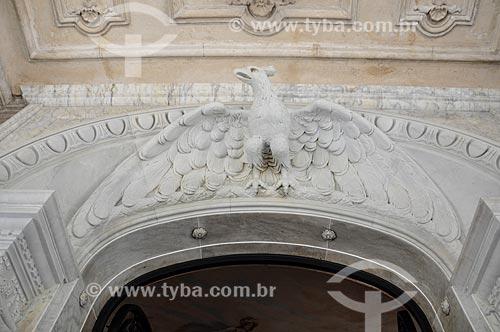Detalhe da decoração do Palácio Laranjeiras (1913) - residência oficial do governador do estado do Rio de Janeiro  - Rio de Janeiro - Rio de Janeiro (RJ) - Brasil