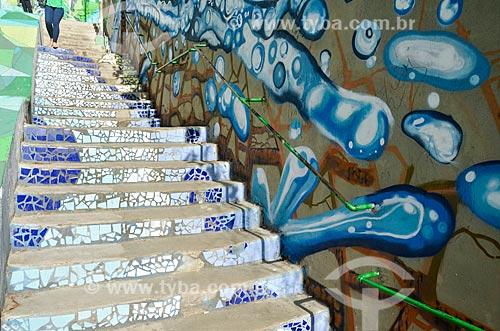 Escadaria na favela Ladeira dos Tabajaras  - Rio de Janeiro - Rio de Janeiro (RJ) - Brasil