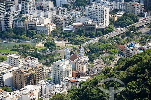 Vista dos prédios na Lagoa e da Paróquia Santa Margarida Maria (1956) a partir do Morro dos Cabritos  - Rio de Janeiro - Rio de Janeiro (RJ) - Brasil
