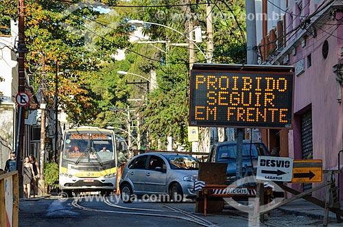 Rua interditada devido a reforma do Bonde de Santa Teresa  - Rio de Janeiro - Rio de Janeiro (RJ) - Brasil