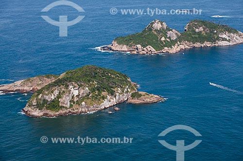 Foto aérea das Ilhas Alfavaca e Pontuda - parte das Ilhas Tijucas  - Rio de Janeiro - Rio de Janeiro (RJ) - Brasil